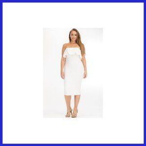 NWT Plus Size Bodycon Ruffled Tube Dress White